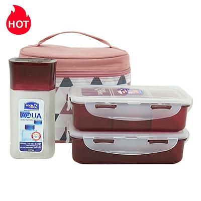 Bộ Túi Hộp Cơm Lock&Lock Triangle Pattern Bag HPL758S3AR (470 - 470 - 300 ml) - Đỏ