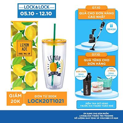 Ly Nhựa Có Ống Hút Lock&Lock HAP507YEL 750ml - Màu Vàng
