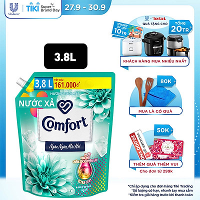 Nước Xả Vải Comfort Giữ Màu & Bền Vải Ngăn Ngừa Mùi Hôi, Một Lần Xả Hương Tươi Mát túi 3.8L