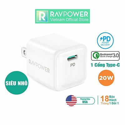 Adapter Củ Sạc Siêu Nhỏ RAVPower RP-PC150 USB Type C PD 20W Sạc Nhanh iPhone, iPad, Android - Hàng Chính Hãng