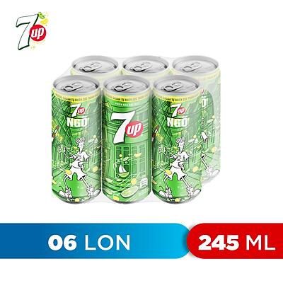 Lốc 6 Lon Nước Ngọt Có Gas 7Up (245ml/lon)