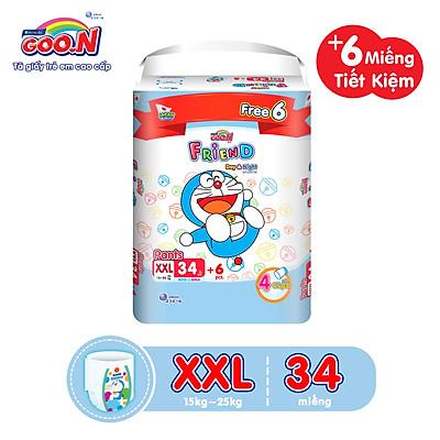 Tã Quần Goon Friend Doremon Mới Gói Cực Đại XXL34 (15kg ~ 25kg) + tặng thêm 6 miếng tiết kiệm hơn (Pack mới)
