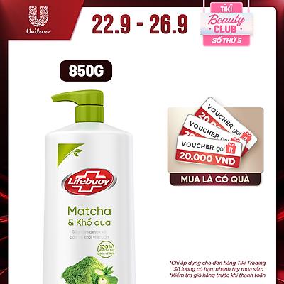 Sữa tắm detox Lifebuoy Matcha & Khổ qua 850g chiết xuất từ thiên nhiên giúp ngừa mụn cơ thể và sạch sâu khỏi bụi mịn