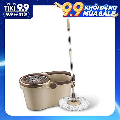 Bộ Cây Lau Nhà Xoay Tay Compact Spin Mop Lock&Lock ETM466: Thùng Giặt + Cây + Bông Lau