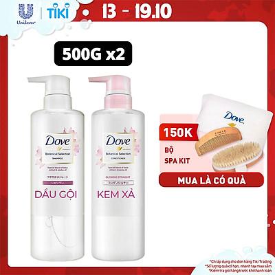 Combo Kem xả và dầu gội Nhật 500g Dove Mượt tóc Chiết xuất Hoa Sen & dầu Jojoba Dưỡng tóc mềm mượt, vào nếp