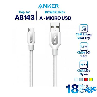 Dây Cáp Sạc Micro USB Anker PowerLine+ 1.8m - A8143 - Hàng Chính Hãng