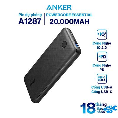 Pin Dự Phòng Anker PowerCore Essential 20.000mAh Hỗ Trợ Sạc Nhanh Power Delivery PD 20W Tích Hợp USB Type-C In/Out - A1287 - Hàng chính hãng