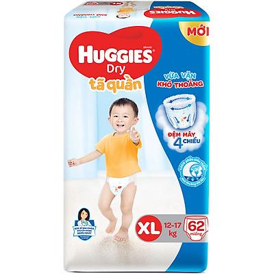 Tã Quần Huggies Dry Gói Cực Đại XL62 (62 Miếng) - Bao Bì Mới