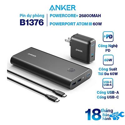 Bộ Pin Sạc Dự Phòng Anker PowerCore+ 26800mAh Hỗ Trợ Power Delivery PD 45W A1376 Kèm Adapter Sạc 1 Cổng USB Type-C 60W Anker Powerport Atom III 60W - B1376 - Hàng Chính Hãng