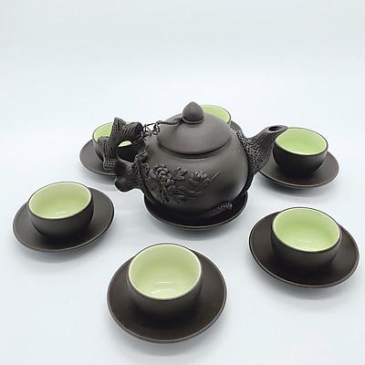 Bộ ấm chén/ bộ bình gốm cội nguồn đắp nổi (dáng đĩa lót)