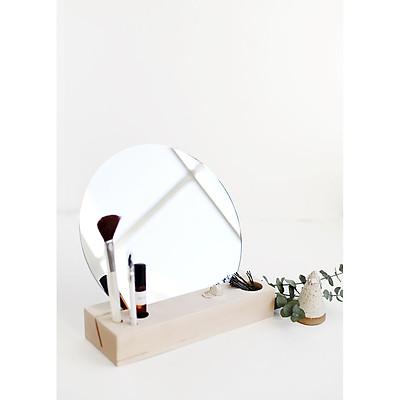 Gương trang điểm để bàn hình tròn, thiết kế tinh tế với đế gỗ tích hợp ngăn đựng đồ trang điểm