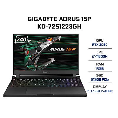 Laptop Gigabyte AORUS 15P KD-72S1223GH (Core i7-11800H/ 16GB (8x2) DDR4 3200MHz/ 512GB SSD M.2 PCIE G3X4/ RTX 3060 8GB GDDR6/ 15.6 FHD IPS, 240Hz/ Win10) - Hàng Chính Hãng
