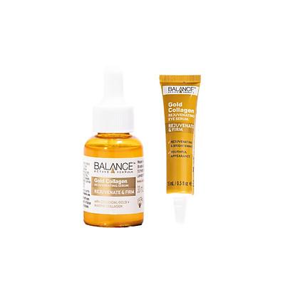 Combo tinh chất Gold Collagen Rejuvenating Balance Active Formula tái tạo trẻ hóa da mặt 30ml và serum mắt gold collagen eye Balance Active Formula làm sáng và căng vùng da mắt 15ml, hàng chính hãng
