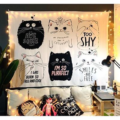 Tranh vải treo tương hình con mèo tặng kèm móc treo tường+đèn led nhấp nháy