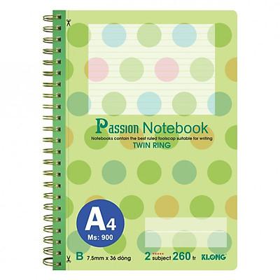 Sổ lò xo kép bìa nhựa A4 - 260 trang; Klong TP900 xanh lá