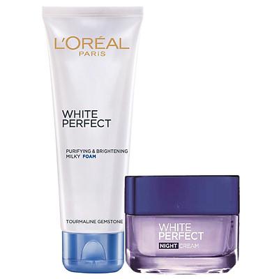 Bộ Đôi Kem Dưỡng Đêm Và Sửa Rửa Mặt White Perfect Dewy L'oreal 50ml