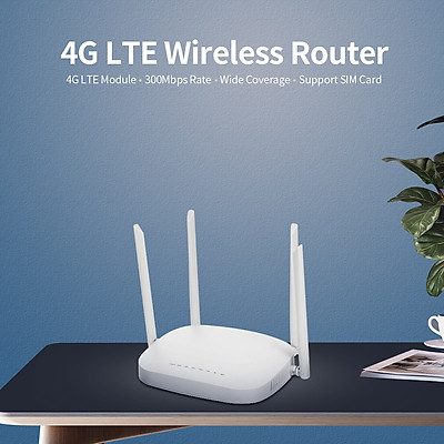 X11 4G LTE Smart WiFi Router 300Mbps High Speed Wireless Router with 4 External Antennas SIM Card Slot White America