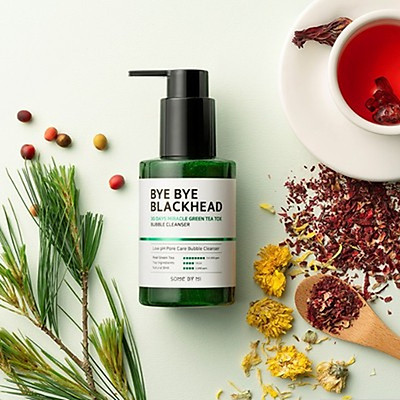 Sữa rửa mặt làm giảm và ngăn ngừa mụn đầu đen Some By Mi Bye bye blackhead 30 days miracle greentea tox bubble cleanser