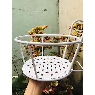 Giỏ treo chậu hoa ban công bằng sắt mỹ thuật - màu trắng