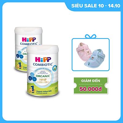 Combo 2 lon sữa bột dinh dưỡng công thức HiPP 1 Organic Combiotic chất lượng hữu cơ, hỗ trợ, tăng cường sức khoẻ hệ miễn dịch, bổ sung omega 3,6 (DHA&ARA) dành cho trẻ dưới 6 tháng tuổi (2lonx800g)