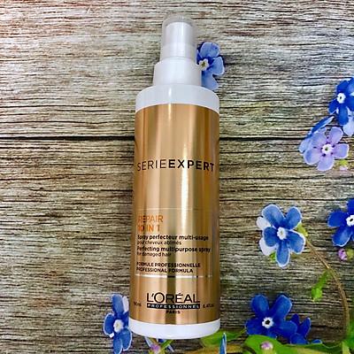 Xịt dưỡng tóc L'oreal Serie Expert repair 10 in 1 spray đa năng phục hồi tóc khô hư tổn 190ml