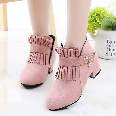 Bốt cao gót cho bé gái 3 - 12 tuổi duyên dáng và thời trang phong cách Hàn Quốc GC51 hồng