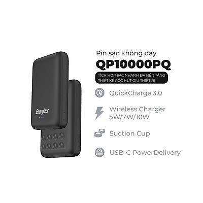 Pin dự phòng Energizer QP10000PQBK 10,000mAh - Tích hợp sạc nhanh đa nền tảng, sạc không dây - Thiết kế cốc hút giữ thiết bị - HÀNG CHÍNH HÃNG