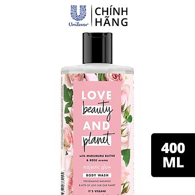 Sữa Tắm Love Beauty And Planet Làm Sáng Da Majestic Glow Với 100% Tinh Dầu Hoa Hồng Bulgaria 400ml