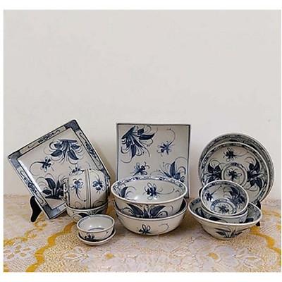 Bộ chén dĩa ( bộ bàn ăn) men rạn vẽ chuồn khoai gốm Gia Hưng Bát Tràng