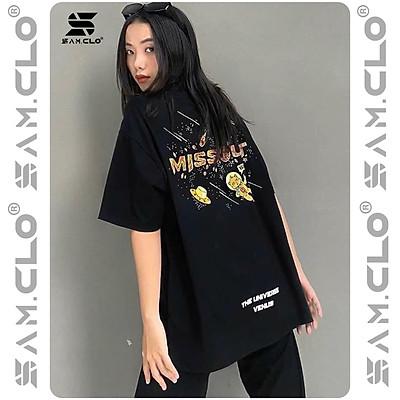 Áo thun tay lỡ nữ freesize phông form rộng dáng Unisex - Ulzzang mặc cặp, nhóm, lớp in chữ MISSOUT VENUS màu đen