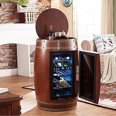Tủ ướp, bảo quản, lưu trữ ruou vang tân cổ điển TR1 , chất liệu vỏ gỗ sồi có 2 ngăn bảo quản riêng biệt. Kích thước: 65x95cm.  Dung tích: 48 lít - 18 chai
