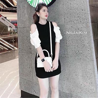 Đầm đen tay phối hở vai siêu đẹp