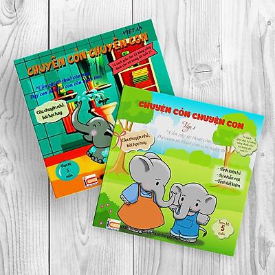 Sách rèn luyện kỹ năng cho bé từ 0-8 tuổi - Combo 2 cuốn truyện tranh  Chuyện Cỏn Chuyện Con Tập 1+2 (Voi Con Tinh Nghịch + Voi Con Hiếu Động )