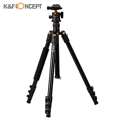 K&F CONCEPT Adjustable Height Camera Tripod Stand Aluminum 4-Section 63.4in/161cm 10KG Payload with Panoramic 360°