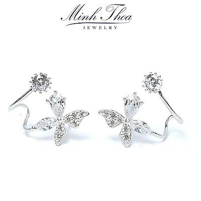 Bông tai nữ bạc 925, khuyên tai bạc nữ hình cánh bướm đẹp dáng kẹp vành Minh Thoa JEWELRY