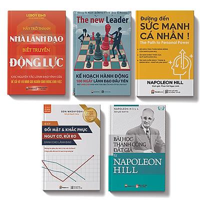 Bộ sách 5 cuốn: Hãy trở thành nhà lãnh đạo biết truyền động lực,Đường đến sức mạnh cá nhân, Bài học thành công đắt giá từ Napoleon Hill, Bí kíp đối mặt và khắc phục nguy cơ, rủi ro, Kế hoạch hành động 100 ngày lãnh đạo đầu tiên