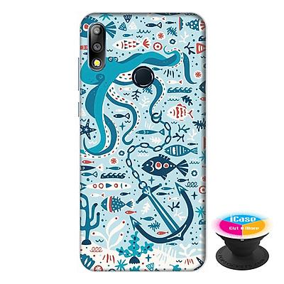 Ốp lưng điện thoại Asus Zenfone Max Pro M2 hình Cá Xanh tặng kèm giá đỡ điện thoại iCase xinh xắn - Hàng chính hãng