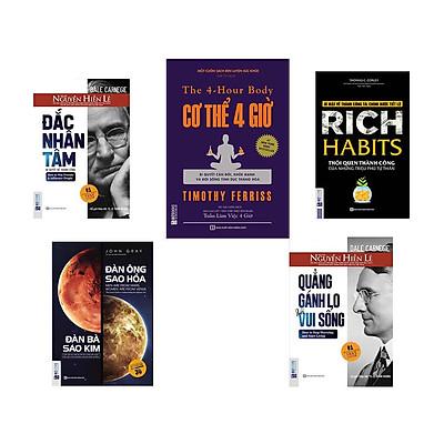 Bộ sách Thay Đổi Cách Sống và Phát Triển Sự Nghiệp ( đắc nhâm tâm - cơ thể 4h - quảng gánh lo đi vui mà sống - đàn ông sao hỏa đàn bà sao kim - rich habits  ) DL