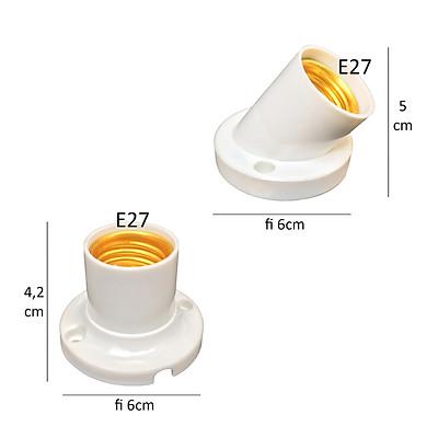 10 Đui đèn gắn ốp tường trần E27 đuôi xoáy 27mm chếch góc 45 độ hoặc vuông 90 độ LH-Ax