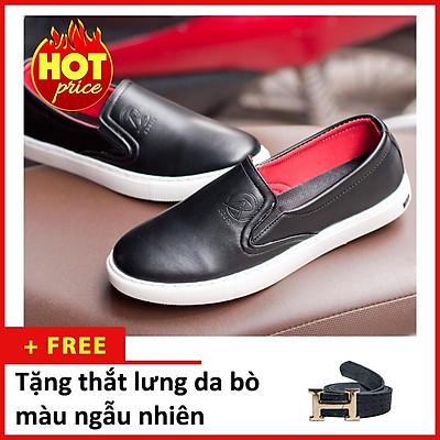 Giày Slip On Nam Aroti Đế Khâu Chắc Chắn Phong Cách Đơn Giản Màu Đen - M498-DEN(TL)- Kèm Thắt Lưng Da Bò Màu Ngẫu Nhiên