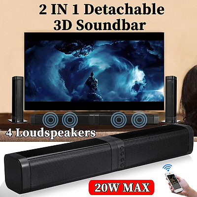 2020 NEW+Detachable bluetooth 5.0 Stereo Soundbar HiFi Speaker Subwoofer TV Home Theater