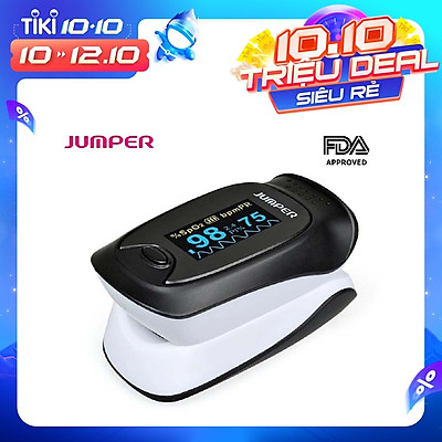 Máy đo nồng độ oxy máu SPO2 và nhịp tim, chỉ số PI Jumper JPD-500D (Chứng nhận FDA hoa kỳ + xuất USA)
