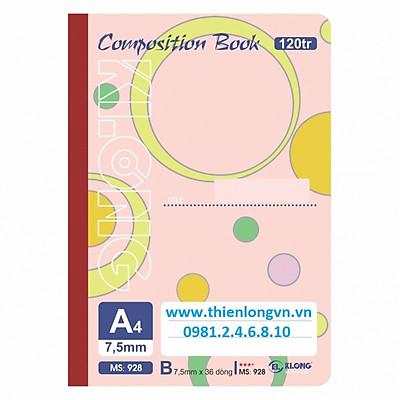 Sổ may dán gáy A4 - 120 trang; Klong 928 bìa hồng