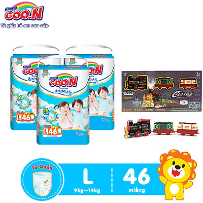 Combo 3 bịch Tã Quần Goo.n Premium Cao Cấp Gói Cực Đại Size L46 (46 Miếng) + Tặng Bộ đồ chơi mô hình đường tàu dùng pin