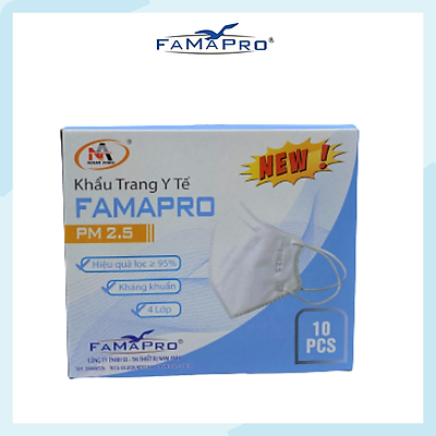 [[ Xuất Khẩu Mỹ ]] - Khẩu Trang Y Tế Cao Cấp FAMAPRO - 4 Lớp Kháng Khuẩn / 95% Lọc Khuẩn, Bụi, Virus Tốt Nhất / Người Lớn - [ CB1 - PM2.5 - TÚI / HỘP ]