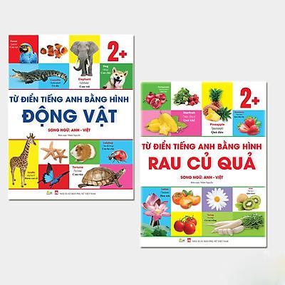 Sách Combo 2 Cuốn Từ Điển Bằng Tranh Cho Trẻ 2 Tuổi Chủ Đề Động Vật Và Hoa - Rau - Củ - Quả(Song Ngữ Anh Việt)
