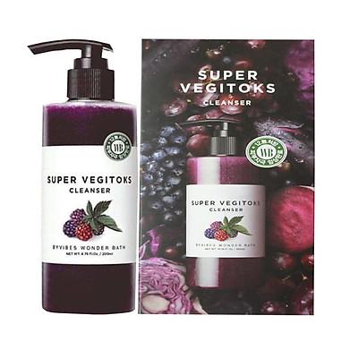 """Sữa Rửa Mặt Sủi Bọt Khí """"3 in 1"""" Tẩy Trang - Rửa Mặt - Thải Độc Tố Wonder Bath Super Vegitoks Cleanser 300ml (Màu Tím - Dưỡng ẩm, Săn chắc da)"""