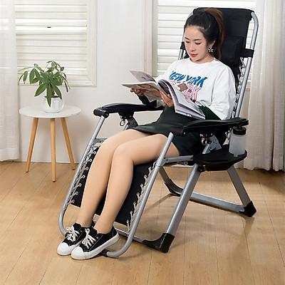 Ghế gấp xếp gọn thư giãn tặng kèm khay để điện thoại và đồ uống