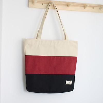 Túi tote vải canvas phom đứng phối sọc 3 màu thời trang COVI nhiều màu sắc T9