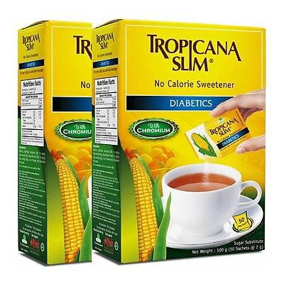 Combo 2 Hộp Đường Ăn Kiêng Tropicana Slim No Calorie Sweetener Diabetics (50 x 2g)